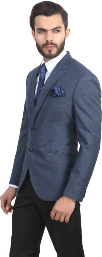 ManQ Solid Single Breasted Wedding, Formal Boy's Blazer  (Blue) | easytradeway.com bestseller