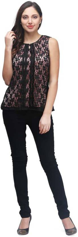 PRINTEMPS Casual Sleeveless Embroidered Women's Black Top | easytradeway.com bestseller