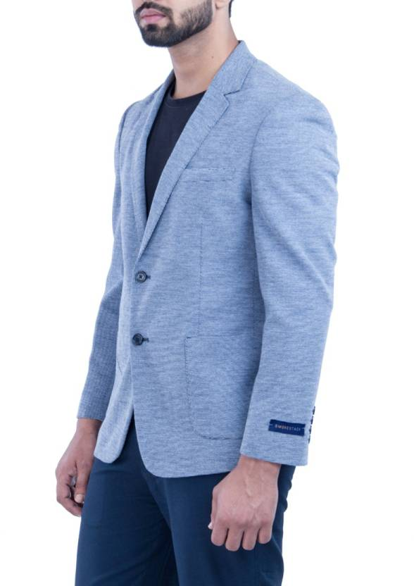 Smokestack Self Design Single Breasted Casual Men's Blazer  (Blue) easytradeway.com bestseller