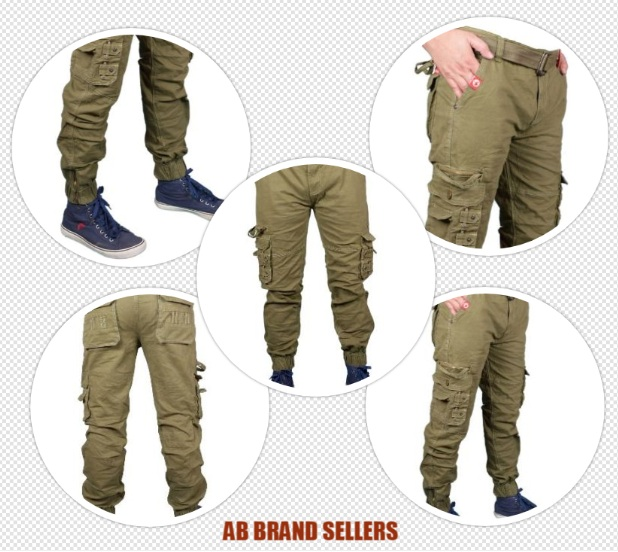 AB Brand Sellers Stretchable Men's Dark Green Cotton Cargo Pants New| Stylist Cotton Solid Relaxed Fit Zipper Cargo Jogger Pants for Men | Comfortable 8 Pockets Zipper Cargo Pants