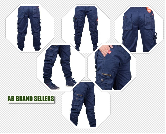 Stretchable Men's Blue Cotton Cargo Pants New| Stylist Cotton Solid Relaxed Fit Zipper Cargo Jogger Pants for Men | Comfortable 8 Pockets Zipper