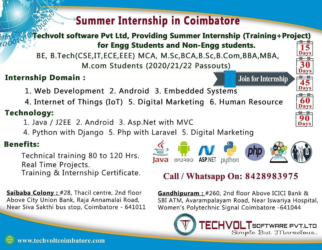 Java|J2EE Summer Internship in Coimbatore||Saibaba Colony, Gandhipuram|Coimbatore|Techvolt Software