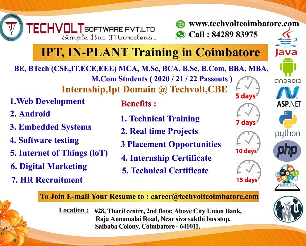 M.SC,BCA,B.SC Internship Training in Coimbatore