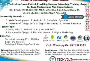 Dotnet Summer Internship in Coimbatore