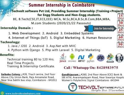 Summer Internship in Techvolt Software Coimbatore