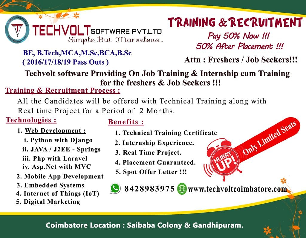 ECE Internship in Coimbatore Techvolt Software