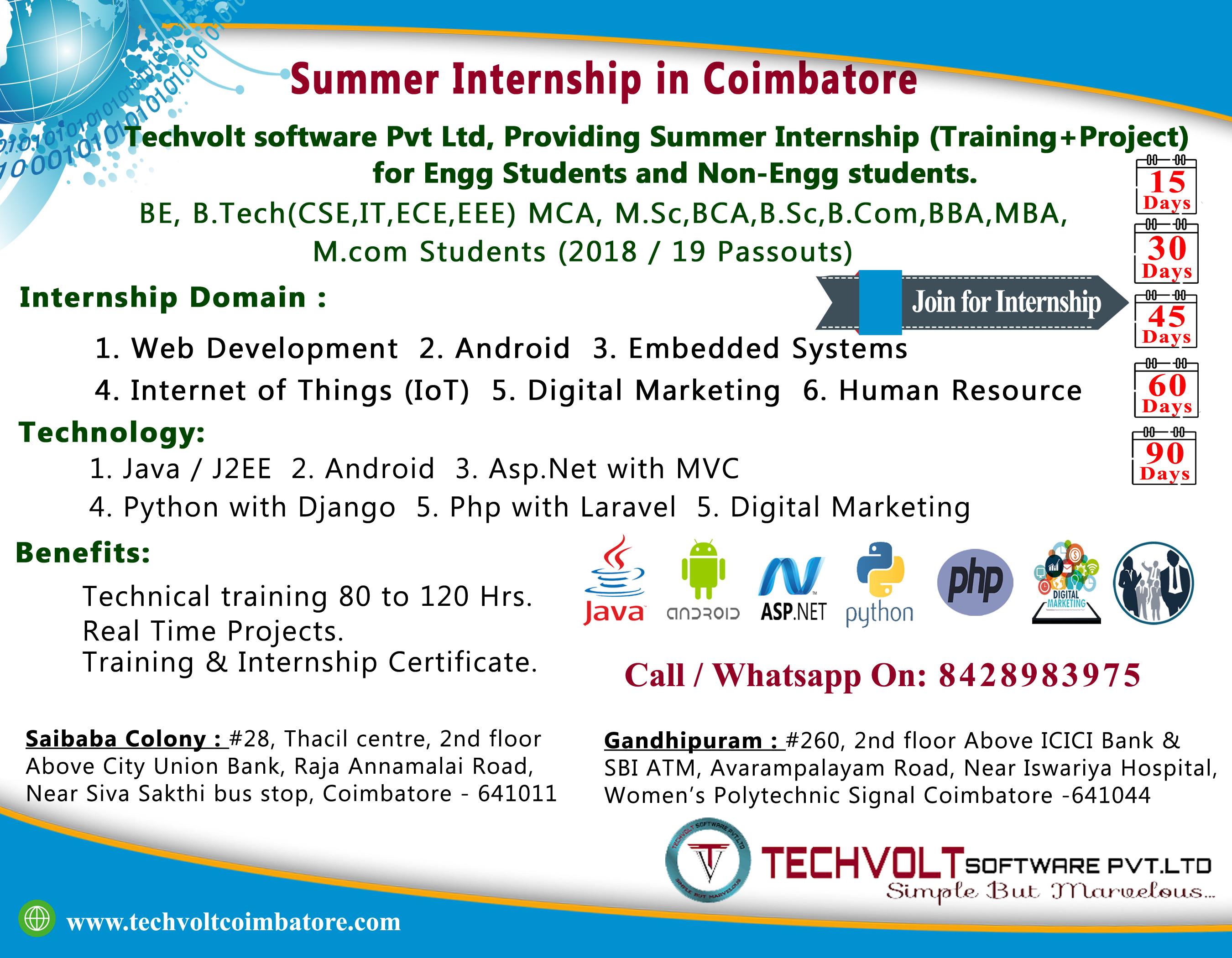 Students Internship Training With Placement in Coimbatore||Techvolt Software