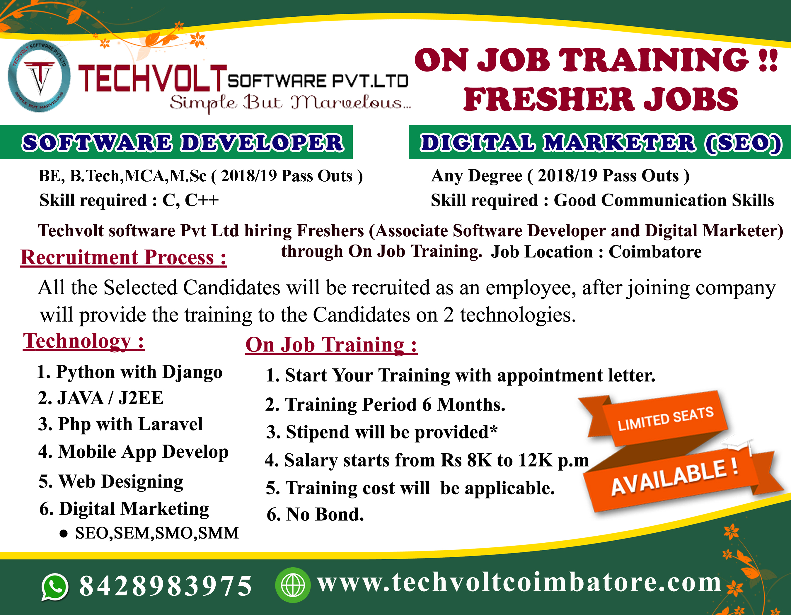 Techvolt Internship in Coimbatore||Internship Program||Training Program